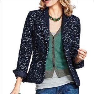 CAbi Damask Jacquard Print Navy Blue Blazer